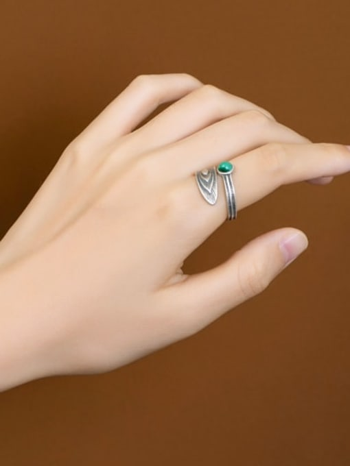 DEER 925 Sterling Silver Malchite Feather Vintage Band Ring 1