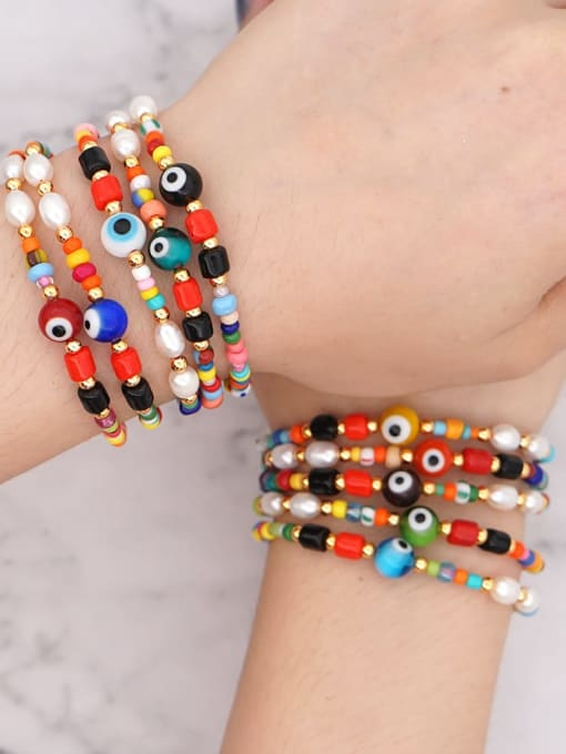 Roxi Stainless steel Bead Multi Color Evil Eye Bohemia Adjustable Bracelet