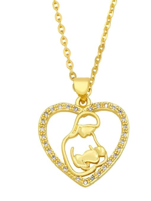 B Brass Cubic Zirconia Heart Vintage Necklace