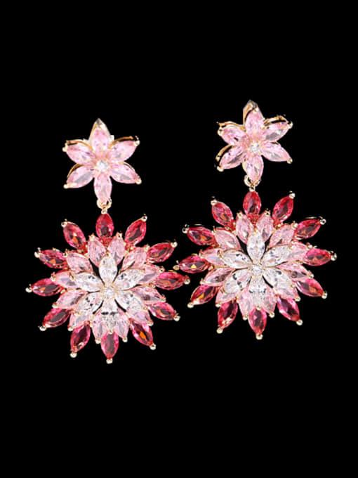 Red Brass Cubic Zirconia Flower Luxury Drop Earring