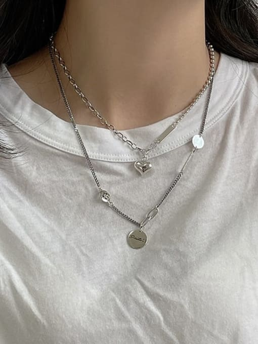 Boomer Cat 925 Sterling Silver Heart Minimalist Hollow Chain Necklace 4