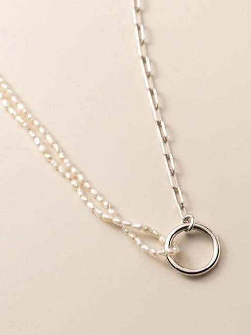 Rosh 925 Sterling Silver Geometric Minimalist  circle asymmetry Necklace 1