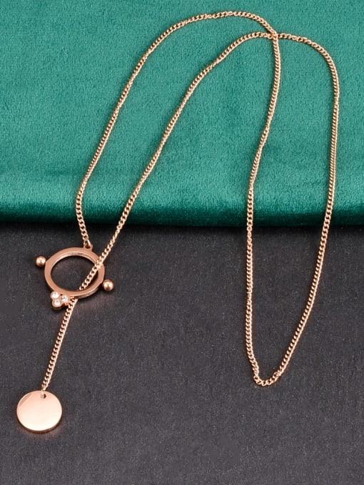 A TEEM Titanium Steel Tassel Minimalist Necklace 0
