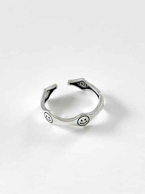 Smile face ring j1569 1.5g 925 Sterling Silver Heart Vintage Band Ring