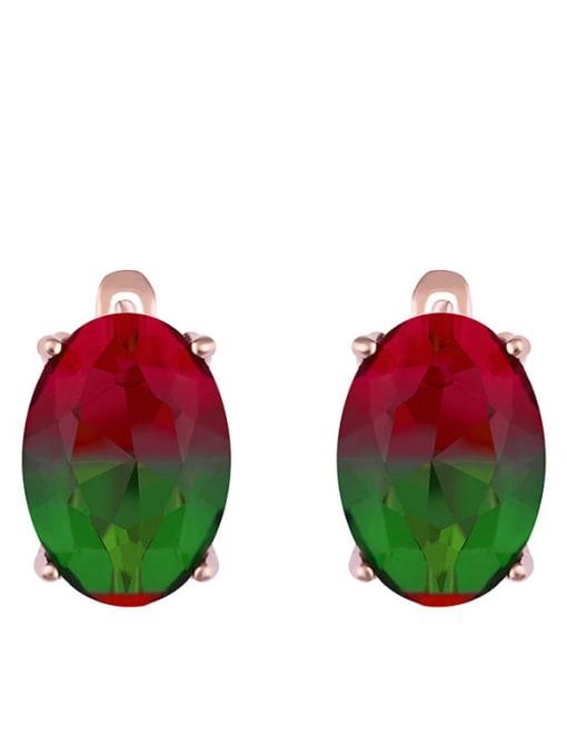 colourful Alloy Glass Stone Rosary Bohemia Stud Earring