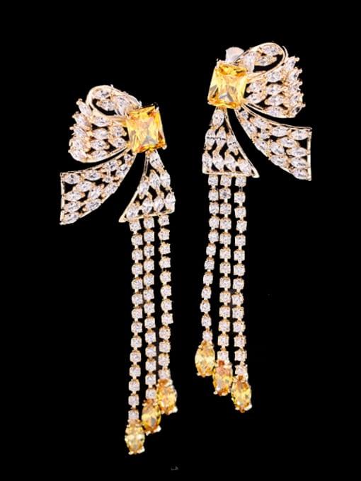yellow Brass Cubic Zirconia Butterfly Ethnic Drop Earring