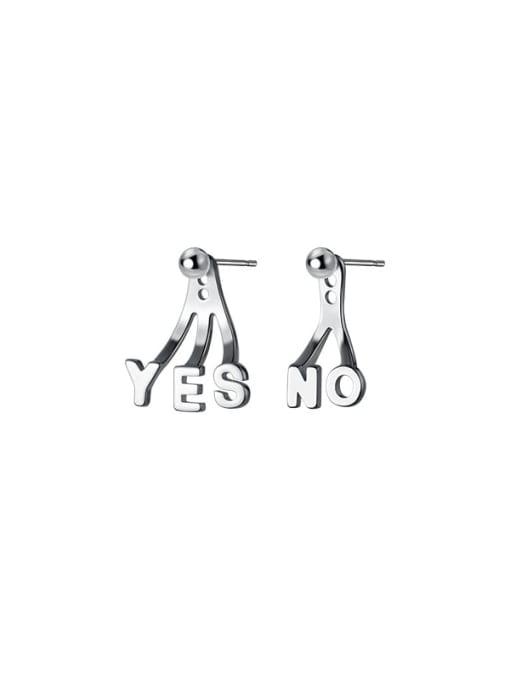 Rosh 925 Sterling Silver Letter Minimalist Stud Earring 3