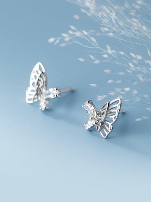 Rosh 925 Sterling Silver Rhinestone Butterfly Minimalist Stud Earring 3
