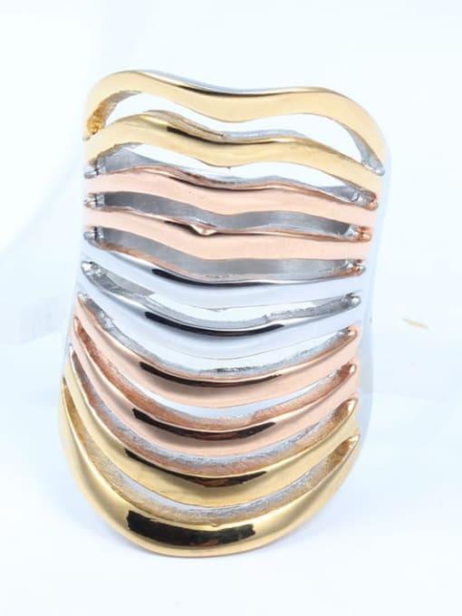 CONG Titanium Steel Irregular Statement Band Ring 2