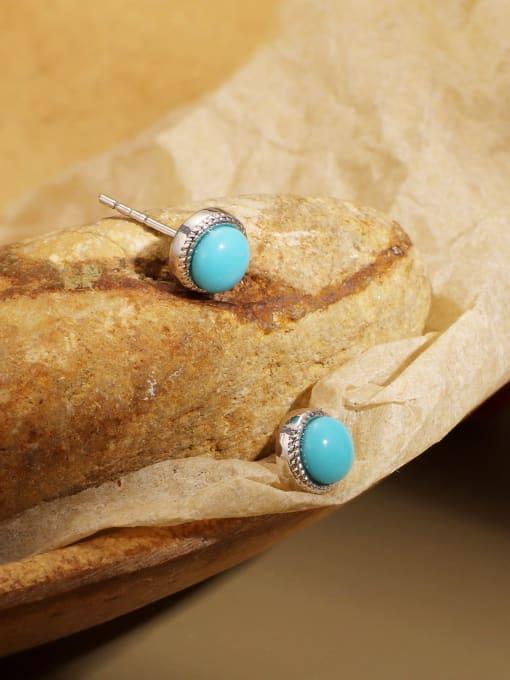 CHARME Brass Turquoise Geometric Vintage Stud Earring 1