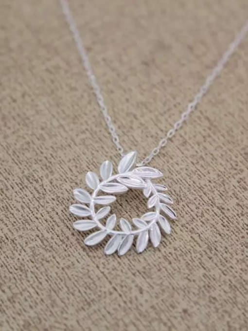 Rosh 925 Sterling Silver Hollow Leaf Minimalist Necklace
