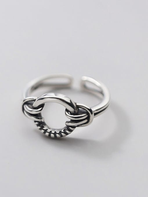 Rosh 925 Sterling Silver Hollow Round Hip Hop Band Ring 2