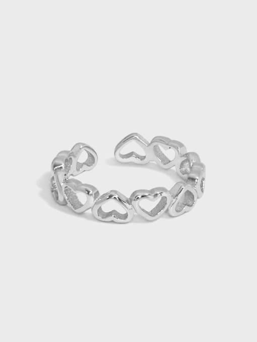 DAKA 925 Sterling Silver Hollow Heart Minimalist Band Ring 0