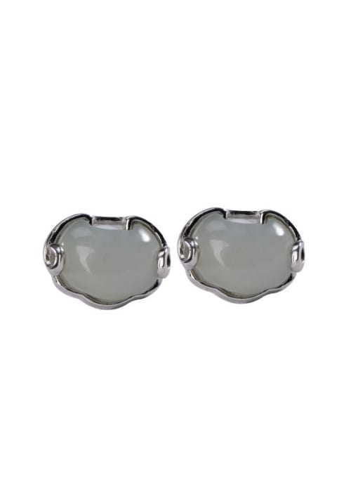 DEER 925 Sterling Silver Jade Cloud Vintage Stud Earring 2