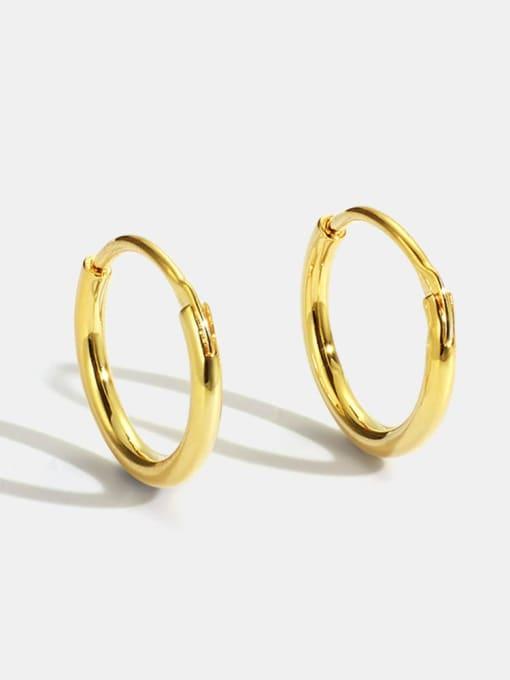 CHARME Brass Smooth Round Minimalist Hoop Earring 0