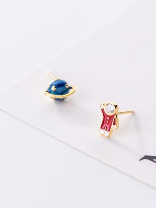 Rosh 925 Sterling Silver  Minimalist Cute cartoon astronaut stylish blue planet  Stud Earring 3
