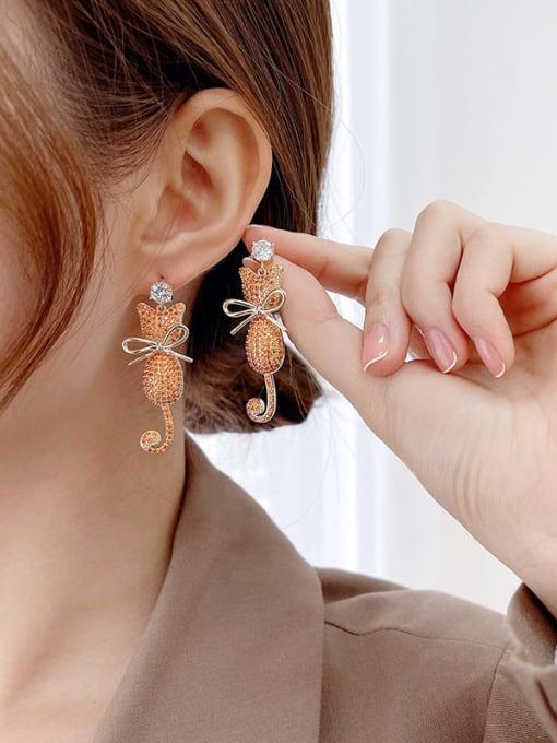 Luxu Brass Cubic Zirconia Cat Cute Drop Earring 2