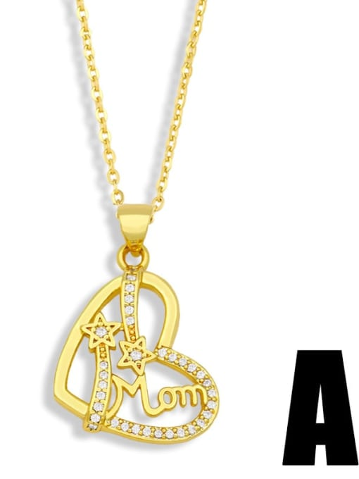A Brass Cubic Zirconia  Minimalist Love English Letter Mom Necklace
