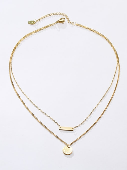 CONG Titanium Steel Geometric Minimalist Multi Strand Necklace 1
