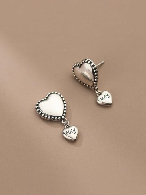 Rosh 925 Sterling Silver Heart Vintage Drop Earring 1