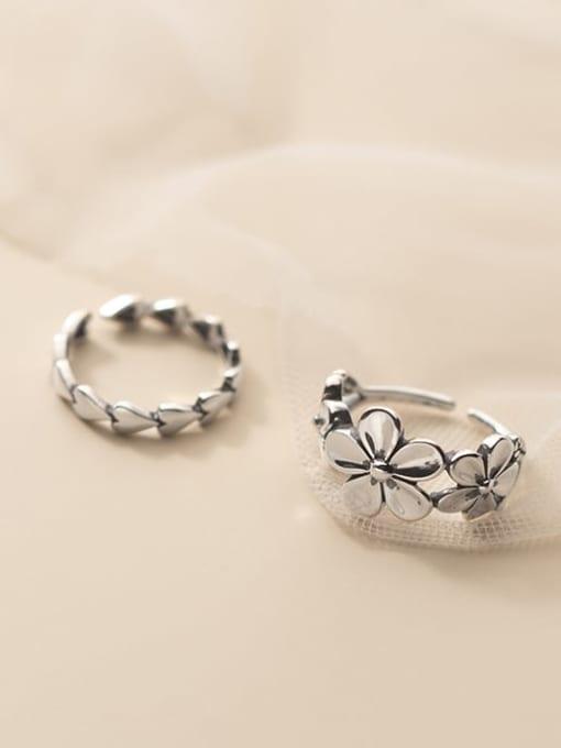 Rosh 925 Sterling Silver Flower Vintage Band Ring