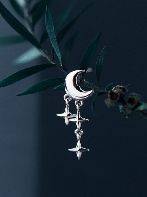 Rosh 925 Sterling Silver Moon Minimalist Cross Drop Earring 2
