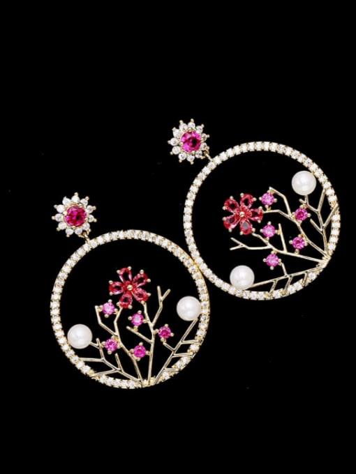 Luxu Brass Cubic Zirconia Flower Trend Drop Earring 0