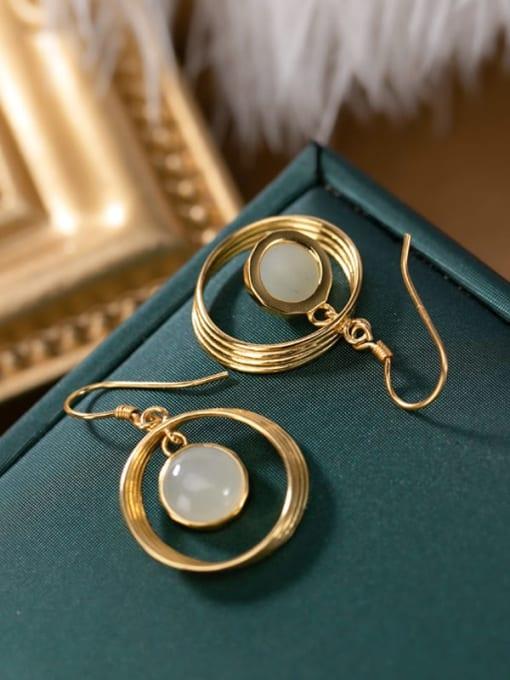 DEER 925 Sterling Silver Jade Geometric Vintage Hook Earring 2