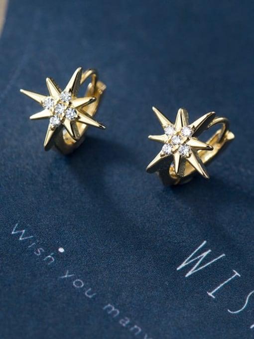 Rosh 925 Sterling Silver Cubic Zirconia Flower Minimalist Huggie Earring