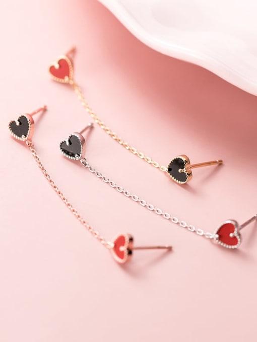Rosh 925 Sterling Silver Enamel Heart Trend Drop Earring 1
