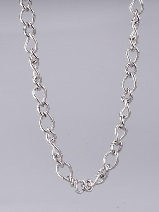 A TEEM Titanium Steel Hollow Geometric Vintage Chain Necklace 3