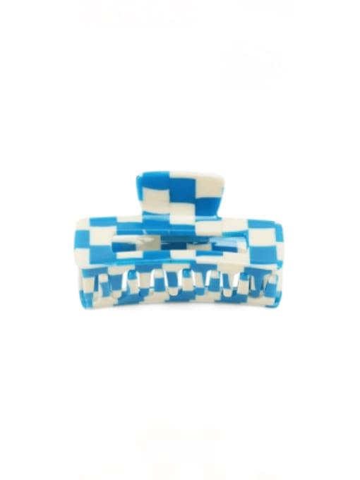 Plaid blue Cellulose Acetate Minimalist Geometric Zinc Alloy Jaw Hair Claw