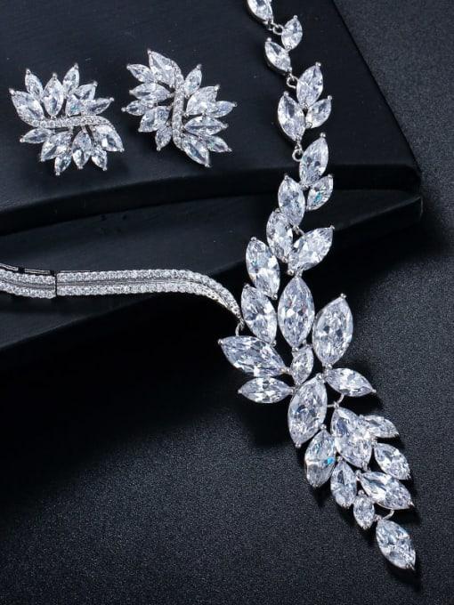 L.WIN Brass Cubic Zirconia  Luxury Flower Earring and Necklace Set 2