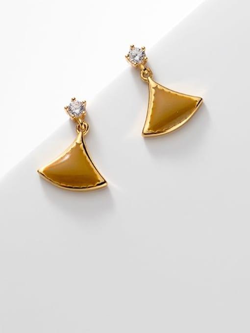 Rosh 925 Sterling Silver Enamel Triangle Minimalist Stud Earring