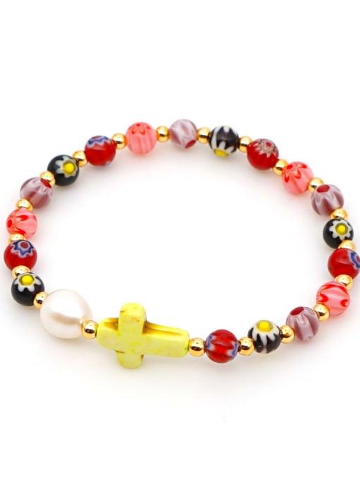 B B200028B Stainless steel Glass Bead Multi Color Cross Bohemia Beaded Bracelet