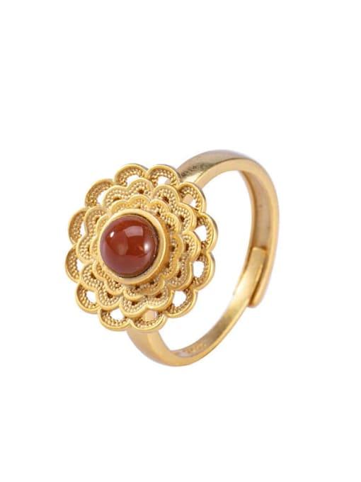DEER 925 Sterling Silver Carnelian Flower Vintage Band Ring 3