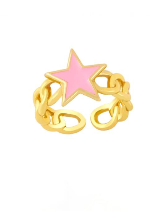 Pink Brass Enamel Star Vintage Band Ring