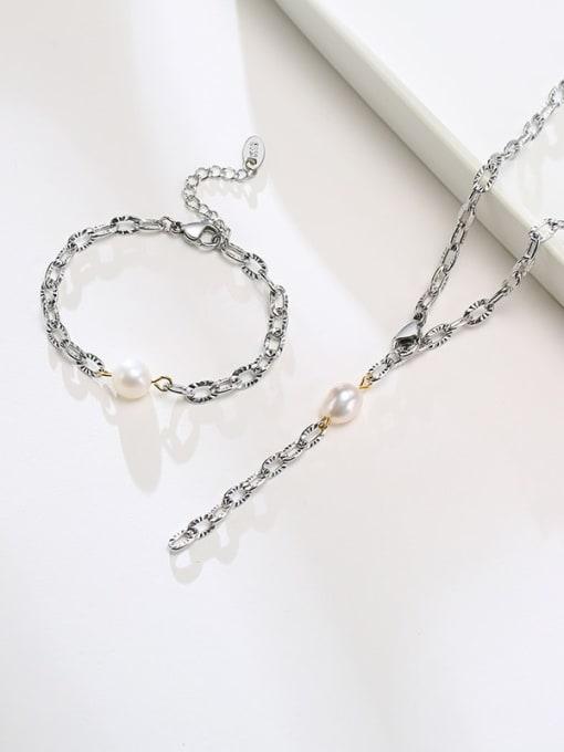 CONG Titanium Steel Imitation Pearl Minimalist Tassel Necklace 0