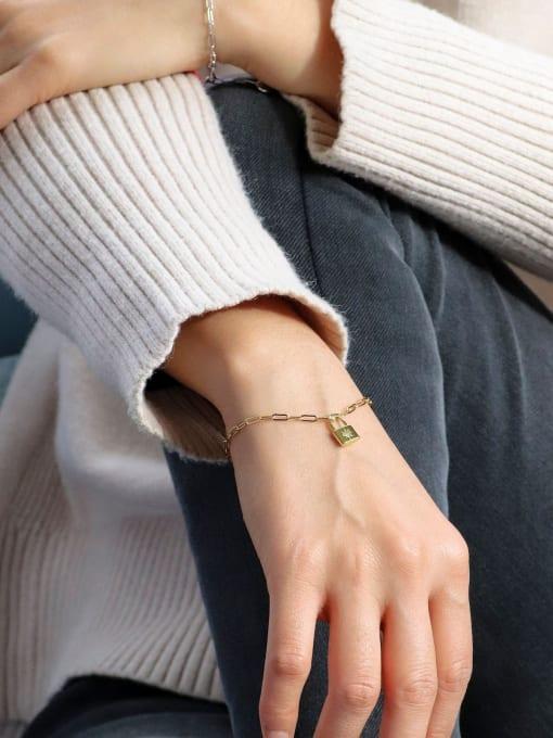 CHARME Brass Cubic Zirconia Locket Minimalist Bracelet 2