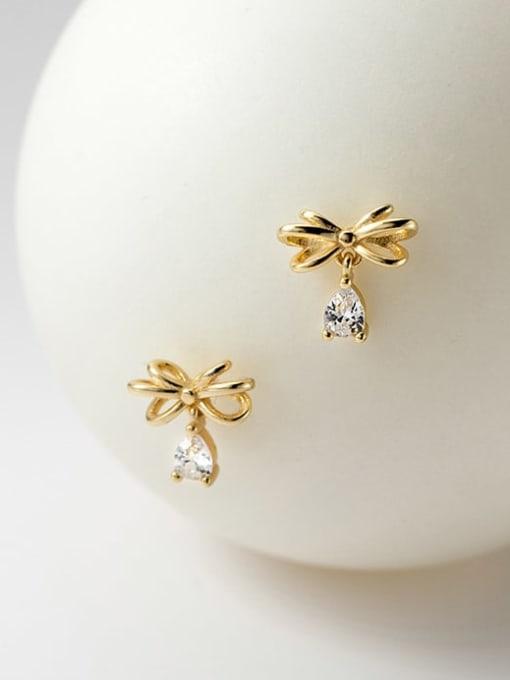 Rosh 925 Sterling Silver Cubic Zirconia Butterfly Cute Stud Earring