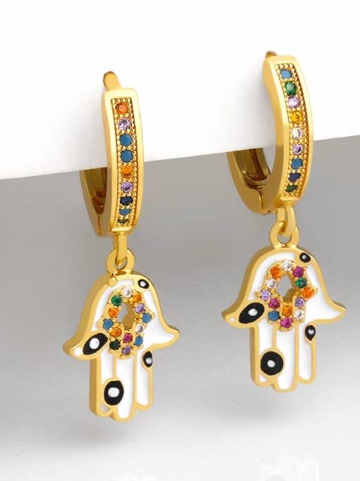 CC Brass Cubic Zirconia Heart Vintage Drop Earring 2