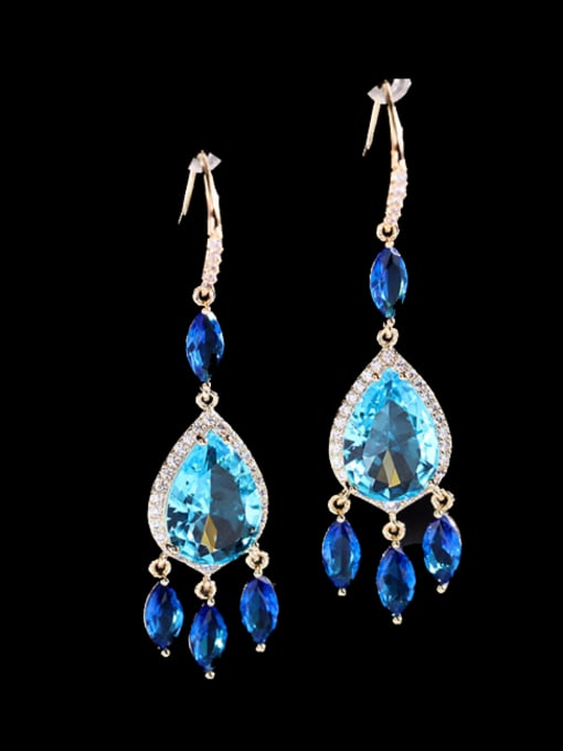 Luxu Brass Cubic Zirconia Water Drop Trend Hook Earring 2