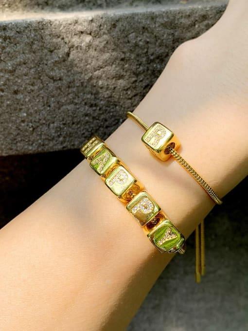CC Brass Cubic Zirconia square Letter Minimalist Adjustable Bracelet 4