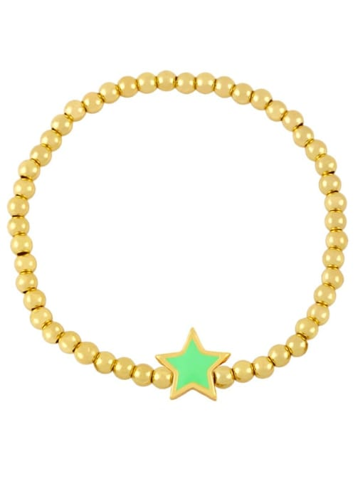 Light green Brass Enamel Star Vintage Beaded Bracelet