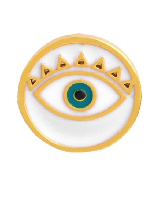 white Brass Enamel Evil Eye Ethnic Stud Earring