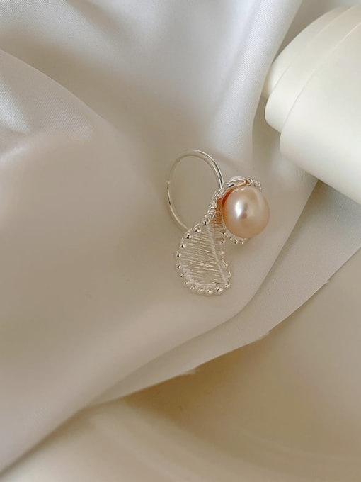Boomer Cat 925 Sterling Silver Imitation Pearl Flower Vintage Band Ring 3