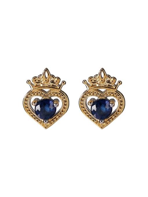 DEER 925 Sterling Silver Cubic Zirconia Irregular Vintage Stud Earring