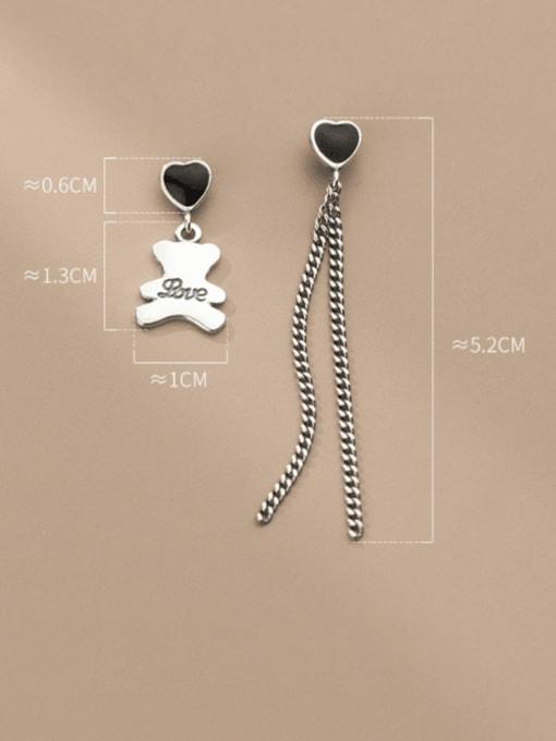Rosh 925 Sterling Silver Vintage  Asymmetric chain love bear Threader Earring 3