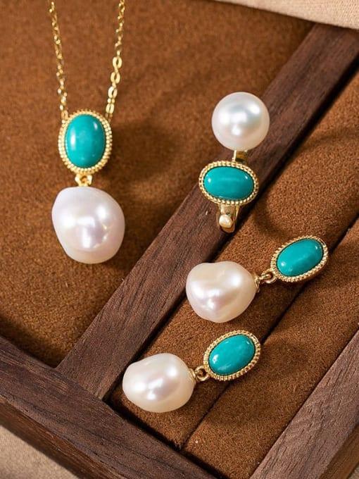 DEER 925 Sterling Silver Turquoise Irregular  Vintage Pendant 0