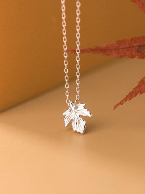 Rosh 925 Sterling Silver Leaf Minimalist Necklace 2